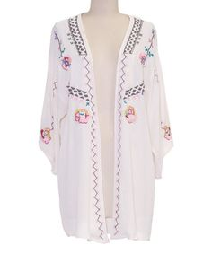 Look at this #zulilyfind! White Floral Embroidered Open Cardigan by inLUV #zulilyfinds