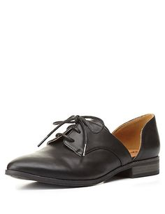 Qupid Two-Piece Pointed Toe Oxfords