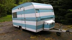 Doller Wohnwagen in hellblau-weisser Streifenoptik. Alles gut in Schuss: Elektrik (alle Lampen...,Oldtimer Wohnwagen - Vintage Camper - Bj 1973 - Fendt 380 in Darmstadt - Darmstadt