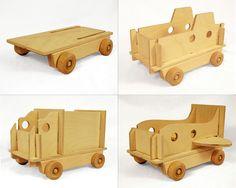 Modular Vehicle, Wood Toy, Truck, Submarine and Airplane. $65.00, via Etsy.