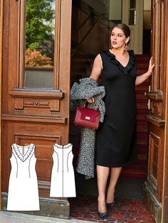 A boring classic? Not with this version! It is styled to fit perfectly – and highlighted by a plunging V-neckline decorated with a playful flounce. #burdastyle #sewing #pattern #diy