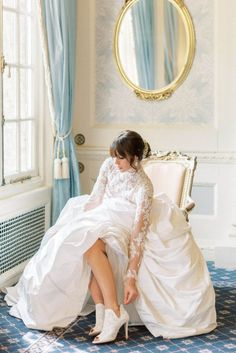hedsor house spring summer wedding; bridal portrait by the big window and pale blue vintage floor to ceiling heavy drapes; vintage mirror with gold details; pale blue wallpaper; white wall panel | Photo by London and Newcastle UK based light bright and airy Filipina wedding photographer Cristina Ilao Wedding Dresses Uk, Luxury Wedding Venues, Beautiful Wedding Venues, Elope Wedding, Designer Wedding Dresses, Wedding Blog, Wedding Ideas, Hedsor House, English Country Weddings