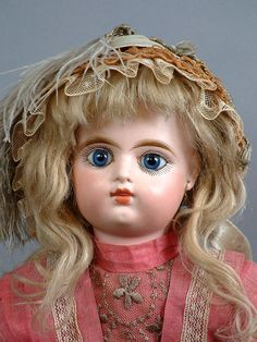 "17"" RARE EDEN BEBE ALL ANTIQUE Closed-Mouth DOLL ON RARE CARVED WOODEN BODY!"