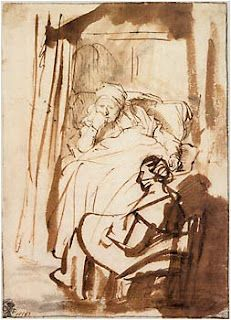 Rembrandt Harmensz. van Rijn (1606–1669) Saskia Lying in Bed, a Woman Sitting at Her Feet, ca. 1638.  The bedridden woman in this study, is most likely his wife Saskia, who was often ill. Saskia's precisely observed likeness, rendered by a fine pen, is juxtaposed to that of her maid in the foreground, whose figure was added in a rather cursory fashion