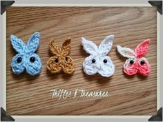 Four colorful East Bunny Face Appliques with black eyes laying on a wooden counter top Easter Crochet Patterns, Crochet Bunny, Crochet Patterns For Beginners, Crochet Crafts, Crochet Flowers, Crochet Animals, Amigurumi Patterns, Crochet Toys, Knitting Patterns