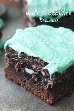 Oreo Stuffed Mint Chocolate Brownies