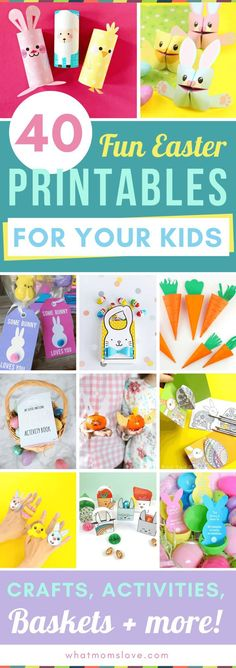 Printable Easter Activities for Kids including fun crafts scavenger hunts coloring pages bag toppers treat bags gift tags and more! Simple and fun DIY Easter ideas for school or home for children aged preschool to teens. Easter Activities For Kids, Spring Activities, Easter Crafts For Kids, Toddler Crafts, Toddler Snacks, Crafts For Children, Easter Egg Hunt Ideas, Baby Crafts, Diy Ostern