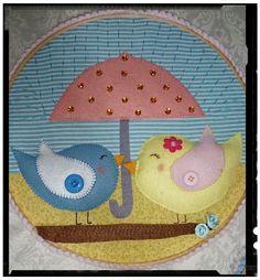 Bastidor Pássaros em feltro by Cath Craft. Encomendas:  www.facebook.com/cathcraft1