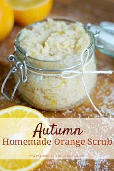 Autumn Homemade Orange Scrub by pastels & Macarons- Indulge your senses in this delicious sweet and warming body scrub. Leaves your skin feeling silky smooth.
