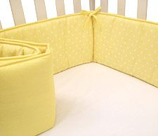 American Baby Company Cotton Percale Crib Bumper measures 10 inches in height to help protect your baby's head from the crib rails. Available in solid colors and fashion prints to match any crib collection. The bumper has 1.7 oz. polyester fiber filler and measures 10″ X 162″. Machine wash cold, tumble dry low for best results. Also available Portable Crib Bumper, perfect for traveling.