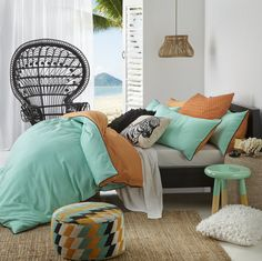 Anjie Spearmint by Logan & Mason. Available in single, double, queen and king quilt cover sets