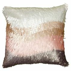 """Textured cotton pillow with a color-blocked motif.  Product: PillowConstruction Material: CottonColor: Ivory and pinkFeatures:  Insert includedHidden zipperMade in India Dimensions: 18"""" x 18""""Cleaning and Care: Spot clean only"""