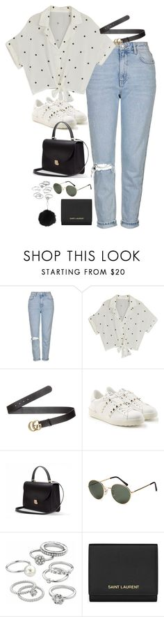 """""""Sem título #5149"""" by fashionnfacts ❤ liked on Polyvore featuring Topshop, Gucci, Valentino, H&M, Candie's and Yves Saint Laurent"""
