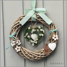 Bunny Crafts, Heart Wreath, Easter Wreaths, Cute Bunny, Wood Blocks, Favorite Holiday, Grapevine Wreath, Pots, Diy And Crafts