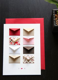 Card Size: x - Envelope: There are 8 tiny envelopes on each card. Included are 6 tiny cards tucked into the little envelopes that allow you to write your own messages. The rest of the little envelopes contain mini heart confetti. Cute Cards, Diy Cards, Your Cards, Mini Envelopes, Tarjetas Diy, Creative Cards, Creative Ideas, Scrapbook Cards, Scrapbook Photos