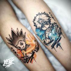 Tattoo Gon And Killua – Hunter x Hunter Tattoos For Guys Badass, Dope Tattoos, Body Art Tattoos, Nerd Tattoos, Forearm Tattoos, Tatoos, Naruto Tattoo, Anime Tattoos, Music Tattoo Designs