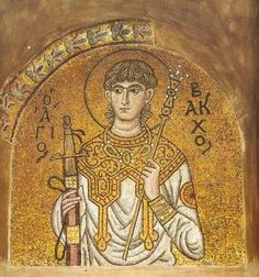 Bakchos mosaic - c. 1100 - tympanum of the north door leading from the church narthex, The Daphni Monastery, Greece Byzantine Icons, Byzantine Art, Religious Icons, Religious Art, Fall Of Constantinople, Ancient Greek City, Church Architecture, Bacchus, Orthodox Icons