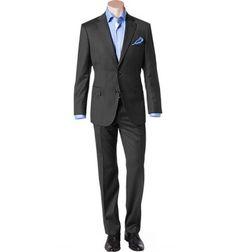 Businessanzug in Comfort Fit aus Schurwolle Super 110 von BOSS Black Dieser Anzug zeichnet sich durch seine perfekte Passform und das besonders feine Schurwolltuch in Super 110 aus. Die hochwertige und leicht melierte Webstruktur sorgt für eine modische