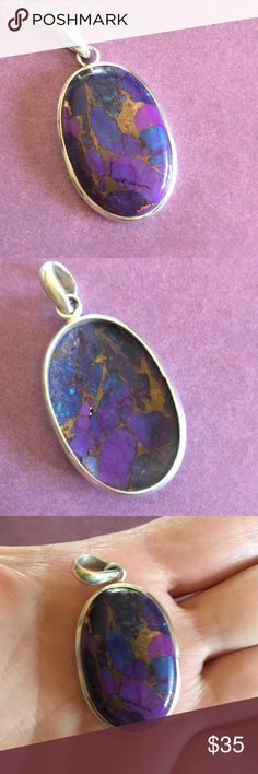 Sterling Purple Turquoise Pendant Gorgeous piece with flecks of copper and blue and purple. Just stunning! Brand new condition. Jewelry Necklaces