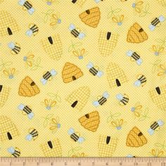 Sew Bee It Tossed Beehives Yellow from @fabricdotcom  Designed by Shelly Comiskey for Henry Glass & Co Fabrics, this cotton print collection features primitive bee, floral, and honeycomb motifs. Perfect for quilting, apparel, and home decor accents. Colors include yellow, blue, charcoal, and green.