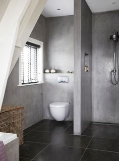 Forged cement on minimal, modern bathroom. Practical and stylish bathrooms.