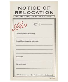 Front door moving announcement postcard magnet flat for Change of address note cards