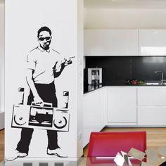 www.stickurz.com, B-Boy, Ghetto Blaster, Radio, Music, Hip Hop, Rap, Design, Decoration, Wall Decal, Sticker, wall tattoo