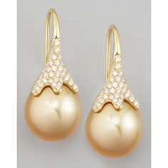 Eli Jewels Golden South Sea Pearl and Diamond Drop Earrings ($5,600) ❤ liked on Polyvore featuring jewelry, earrings, filigree jewelry, 18k earrings, engraved jewelry, golden jewelry and 18k jewelry