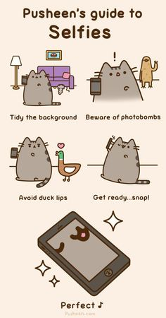 Pusheen's selfies are so cute!! The photo bomber is a sloth!!!!! N