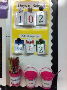 do calendar time, but this would be a great way to keep track of days and practice expanded form.Don't do calendar time, but this would be a great way to keep track of days and practice expanded form. 1st Grade Calendar, Kindergarten Calendar, Classroom Calendar, School Calendar, Math Classroom, Kindergarten Math, Teaching Math, Classroom Organization, Future Classroom