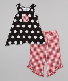 Look at this Black Polka Dot Tunic & Red Capri Pants - Infant, Toddler & Girls on #zulily today!
