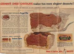 Baker's German's Sweet Chocolate printed in Parade Magazine dated May 22, 1960