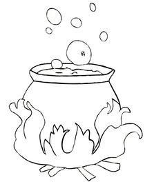 witches cauldron coloring pages | Witches Cauldron halloween --- Coloring pictures
