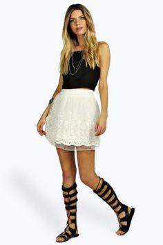 Fifi Floral Organza Skater Skirt at boohoo.com