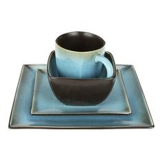 Square Dinnerware Set 16 Piece Stoneware Dishes