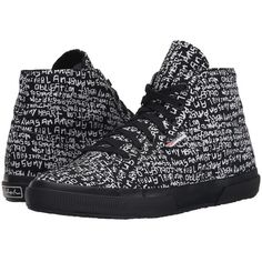 Superga 2095 Fancotu (Grafitti Black/White) Lace up casual Shoes ($45) ❤ liked on Polyvore featuring shoes, sneakers, black, black sneakers, high top shoes, colorful sneakers, black white sneakers and black and white shoes