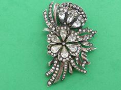 Eisenberg Sterling fur clip flower pattern with clear rhinestones Y93 #Eisenberg