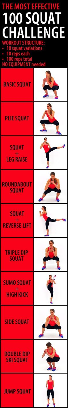 The most effective 100 SQUAT CHALLENGE. This challenge combines 10 different squat variations in order to target all of those glute muscles, from multiple angles, making it more effective than hundred (Fitness Workouts 10 Pounds)