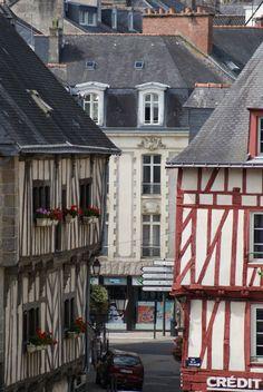 Maisons à colombage du centre de Vannes, Morbihan, Bretagne.