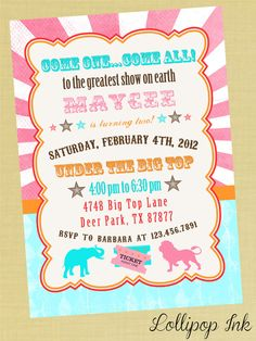 Vintage Circus Bright Birthday Invitation, Pink Circus Carnival Personalized Birthday Invite, Baby Shower Invitation on Etsy, $13.50