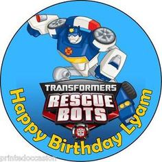 Edible Transformers Rescue Bots Wafer Cake Topper Birthday Party Personalized | eBay