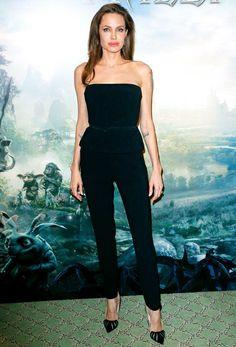 A l'avant-première de Maléfique, Angélina Jolie avait opté pour une combi-pantalon noire.