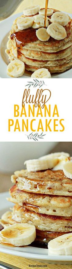 Fluffy Banana Pancakes recipe ~ uber-fluffy yet moist (thanks to mashed banana mixed into the batter), these pancakes make for the perfect weekend morning breakfast!