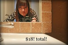 inexpensive idea for the bathroom mirror in guest house...the choices of tiles are endless!!