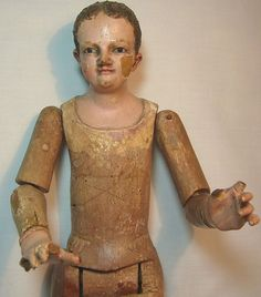 Early Antique Beautifully Articulated Wooden Man Doll Figure from joan-lynetteantiquedolls on Ruby Lane
