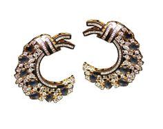 C Shaped Diamond Earrings with Blue Stones – Sweta Sutariya
