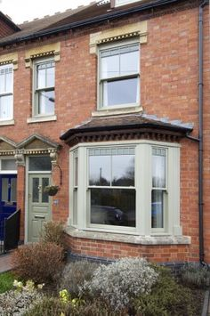 Case studies of new timber windows and new doors installed in the UK - stable doors, entrance doors, casement windows and double glazed sash windows. Green Windows, Timber Windows, Sash Windows, Casement Windows, Windows And Doors, Front Doors, Terrace House Exterior, Bay Window Exterior, Cottage Exterior