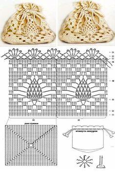 Crochet pineapple bag - crochet in the round joining rows on a square base - Beutel Filet Crochet, Crochet Pouch, Crochet Shell Stitch, Crochet Diy, Crochet Motifs, Crochet Diagram, Crochet Chart, Thread Crochet, Crochet Bags