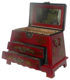 Chinese Red Flower Bird Mirror Drawers Storage Box   Asian   Dressers  Chests And Bedroom Armoires