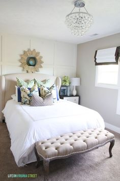 Beautiful Guest Bedroom and Wingback Linen Bed - Life On Virginia Street